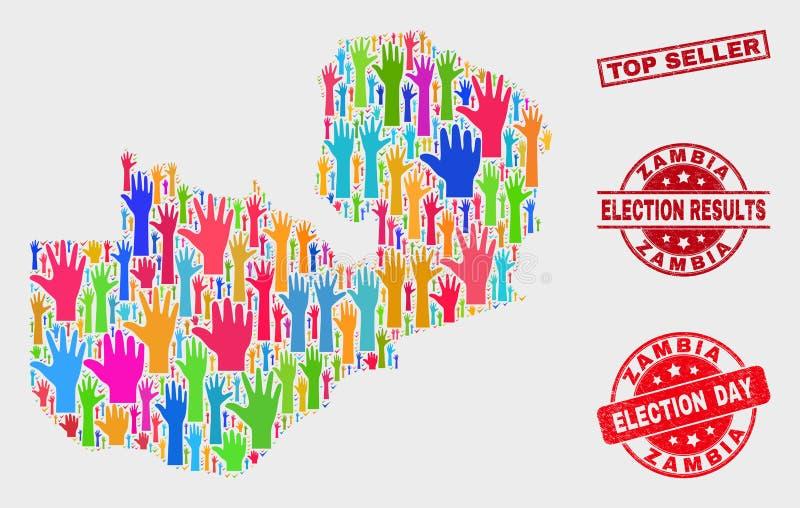 Collage von Wahl-Sambia-Karte und von Bedrängnis-Verkaufsschlager-Stempelsiegel lizenzfreie abbildung