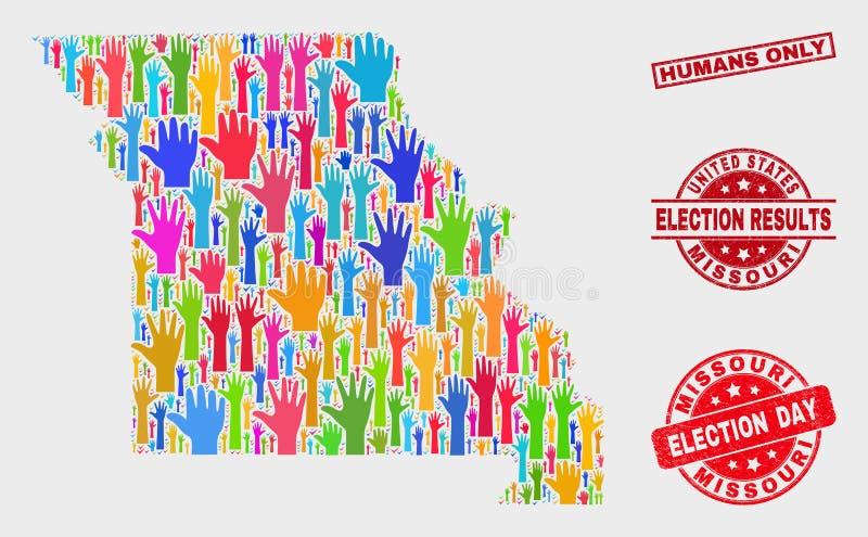Collage von Wahl-Staat Missouri-Karten-und Bedrängnis-Menschen versiegeln nur vektor abbildung