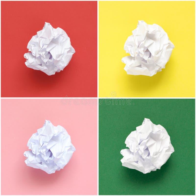 Collage von Weiß zerknitterten Papieren stockbilder