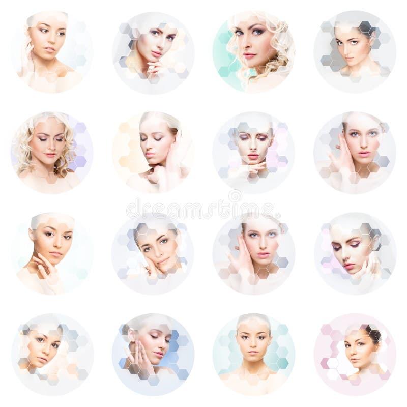Collage von weiblichen Porträts Gesunde Gesichter von jungen Frauen Badekurort, Face lifting, Collagenkonzept der plastischen Chi lizenzfreies stockfoto