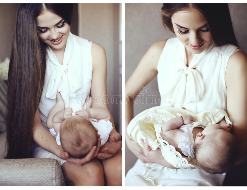 Collage von zarten Fotos der Mutter und ihres schönen kleinen Babys stockbild