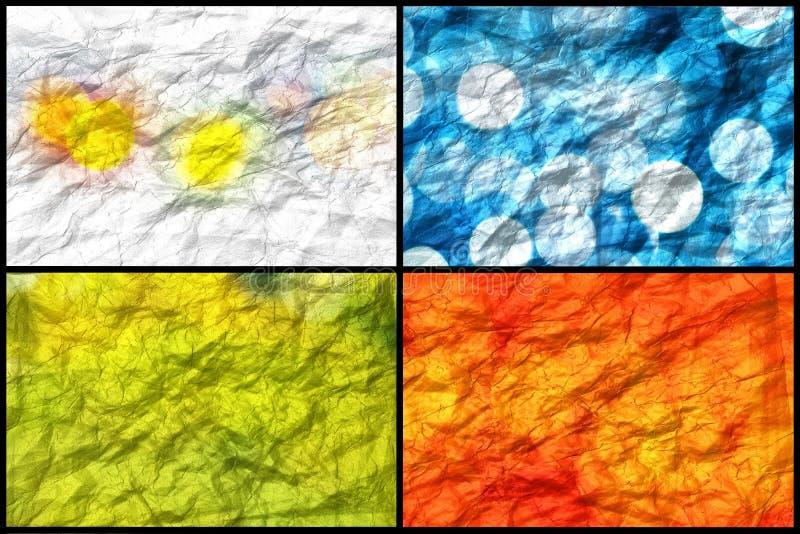 Collage von zerknitterten Hintergründen stockfoto