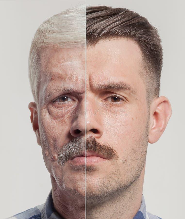 Collage von zwei Porträts des gleichen alten Mannes und des jungen Mannes Face lifting-, Altern- und skincarekonzept Conparison lizenzfreie stockfotografie