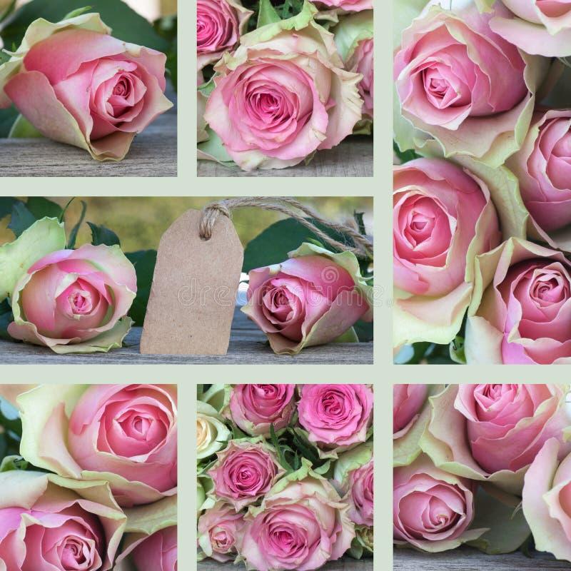 Collage voor valentijnskaarten of moedersdag stock foto's