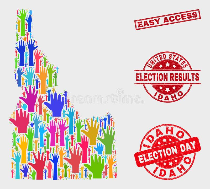 Collage of Voting Idaho State Map and Scratched Easy Access Watermark. Election Idaho State map and watermarks. Red rectangle Easy Access scratched stamp vector illustration