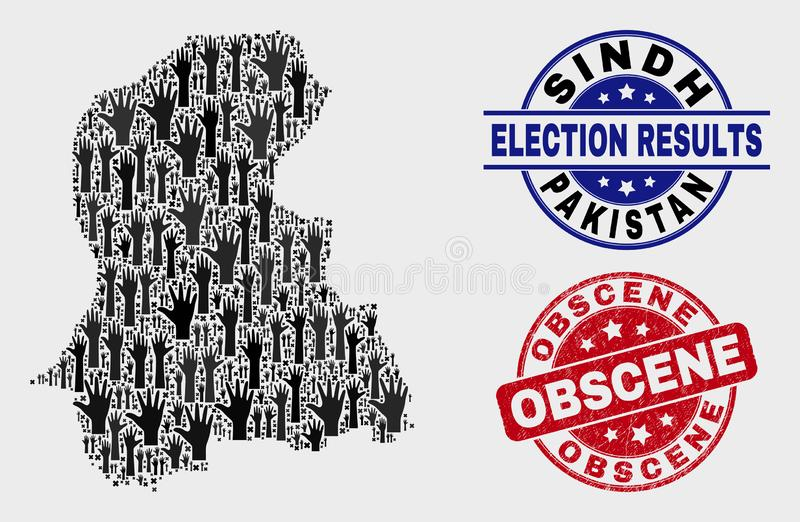Collage of Voting Sindh Province Map and Scratched Obscene Stamp Seal. Patriotic Sindh Province map and seal stamps. Red rounded Obscene distress seal stamp vector illustration