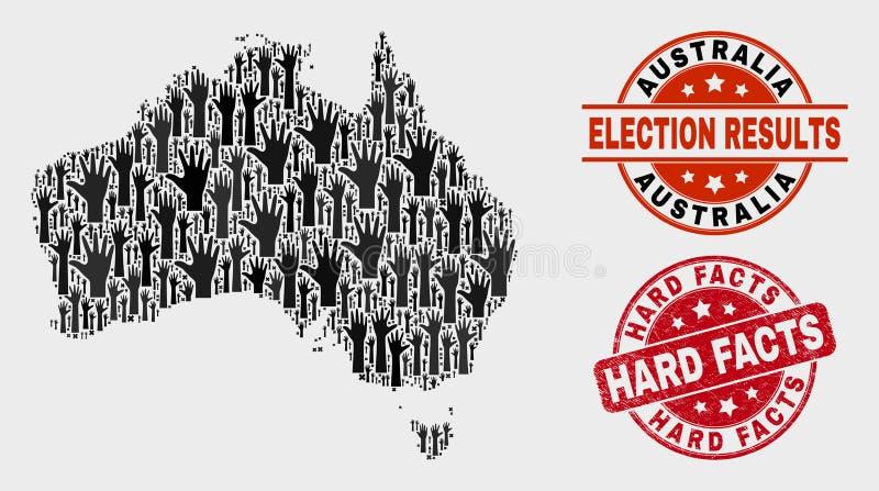 Collage Wahl-Australien-Karte und verkratzte nackte Tatsachen stempeln stock abbildung
