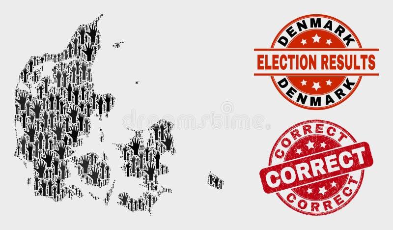 Collage Wahl-Dänemark-Karte und korrekten Stempel beunruhigen stock abbildung