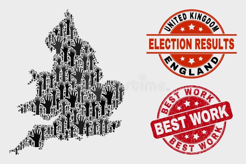 Collage Wahl-England-Karte und der verkratzten besten Arbeits-Robbe lizenzfreie abbildung