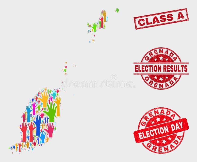 Collage Wahl-Grenada-Karte und Klasse beunruhigen ein Stempel vektor abbildung