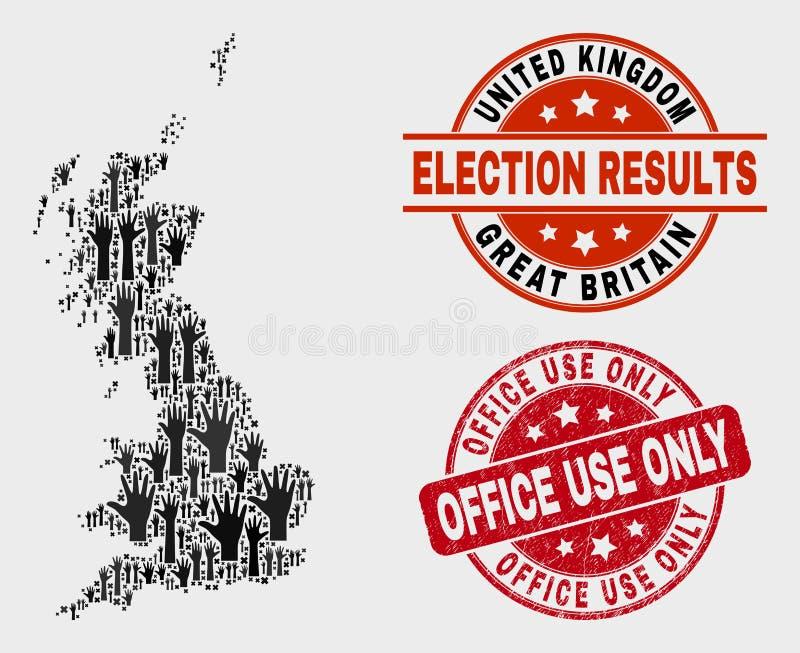 Collage Wahl-Großbritannien-Karte und des Bedrängnis-Büronutzungs-nur Wasserzeichens vektor abbildung