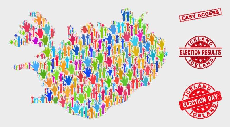 Collage Wahl-Island-Karte und einfache Zugangs-Dichtung beunruhigen stock abbildung
