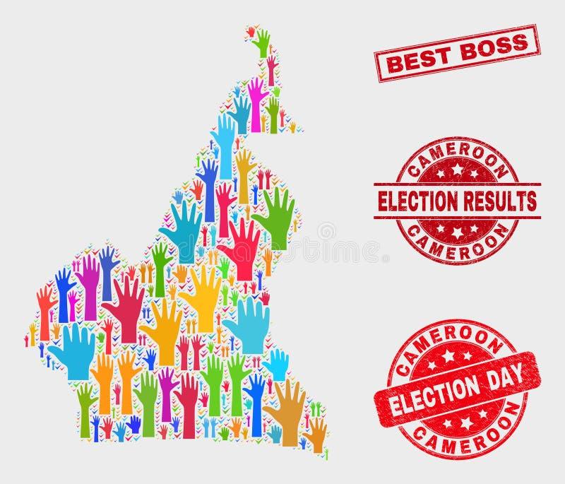 Collage Wahl-Kamerun-Karte und besten Chef Stamp beunruhigen lizenzfreie abbildung