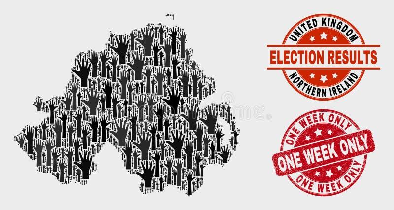 Collage Wahl-Nordirland-Karte und einen Wochen-nur beunruhigen Stempel vektor abbildung