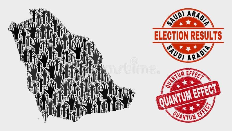 Collage Wahl-Saudi-Arabien Karte und Quantums-Effekt-Stempelsiegel beunruhigen stock abbildung
