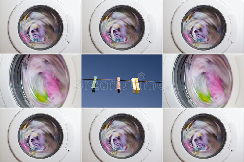 Collage of washing machine. Door with rotating garments inside stock image