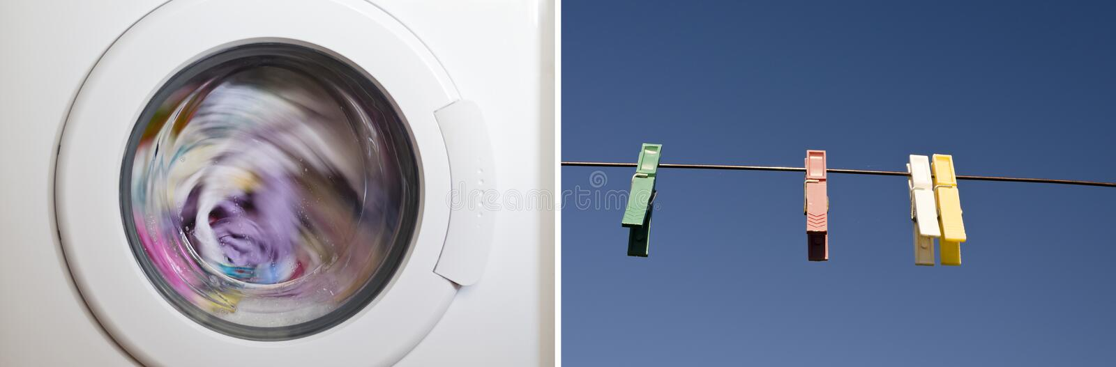 Collage of washing machine. Door with rotating garments inside stock images