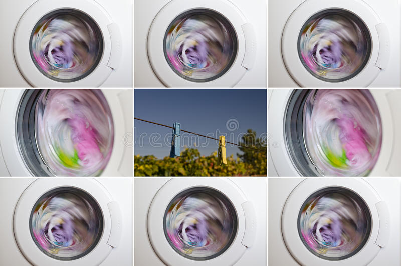 Collage of washing machine. Door with rotating garments inside stock photo