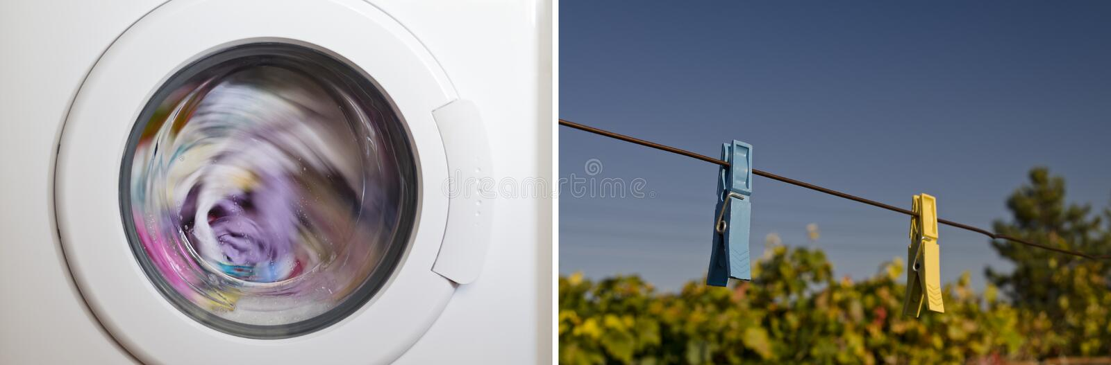 Collage of washing machine. Door with rotating garments inside stock photography