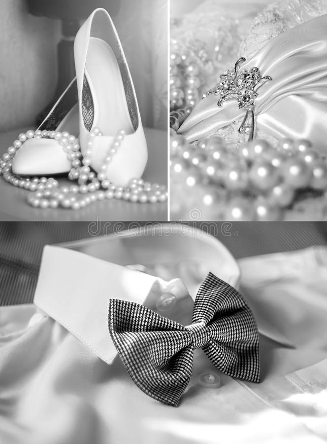 A collage of wedding photos, fashion, beauty. A collage of wedding photos royalty free stock image