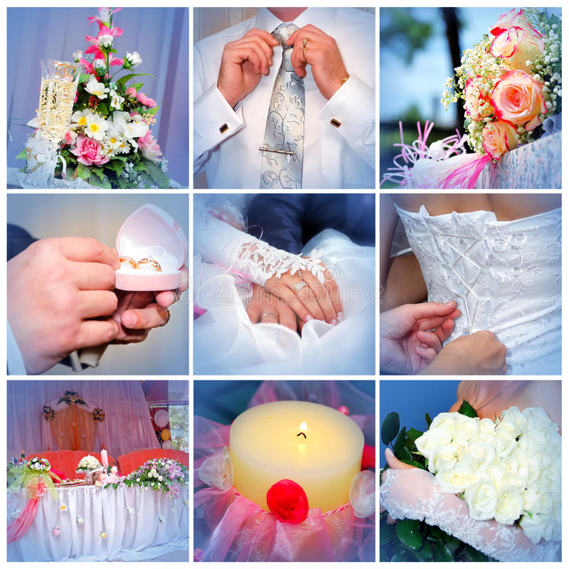 Download Collage From Wedding Photos. Nine In One Stock Image - Image of glasses, groom: 17388789