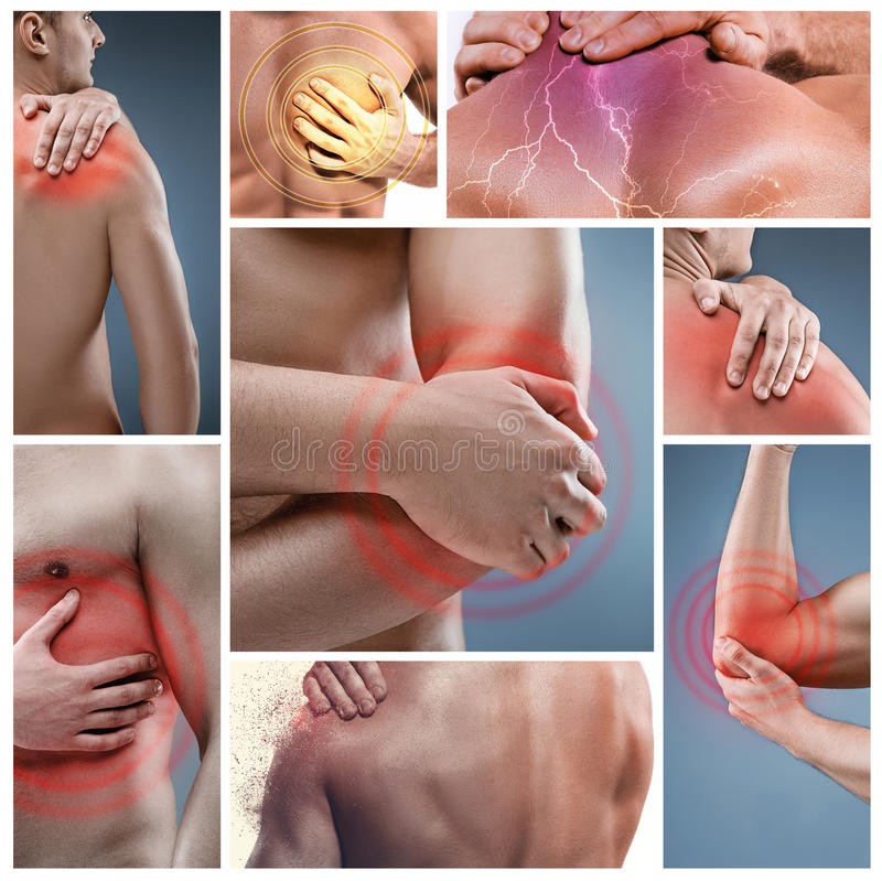 Collage, welche die Schmerz an einigem Teil des Körpers zeigt lizenzfreie stockbilder