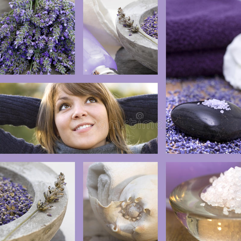 Download Collage Wellness Concept With Lavender Stock Image - Image of young, healthy: 17782315