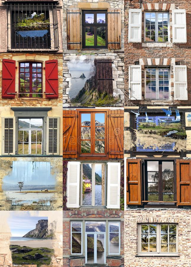 Collage of windows stock photo  Image of background - 139217042