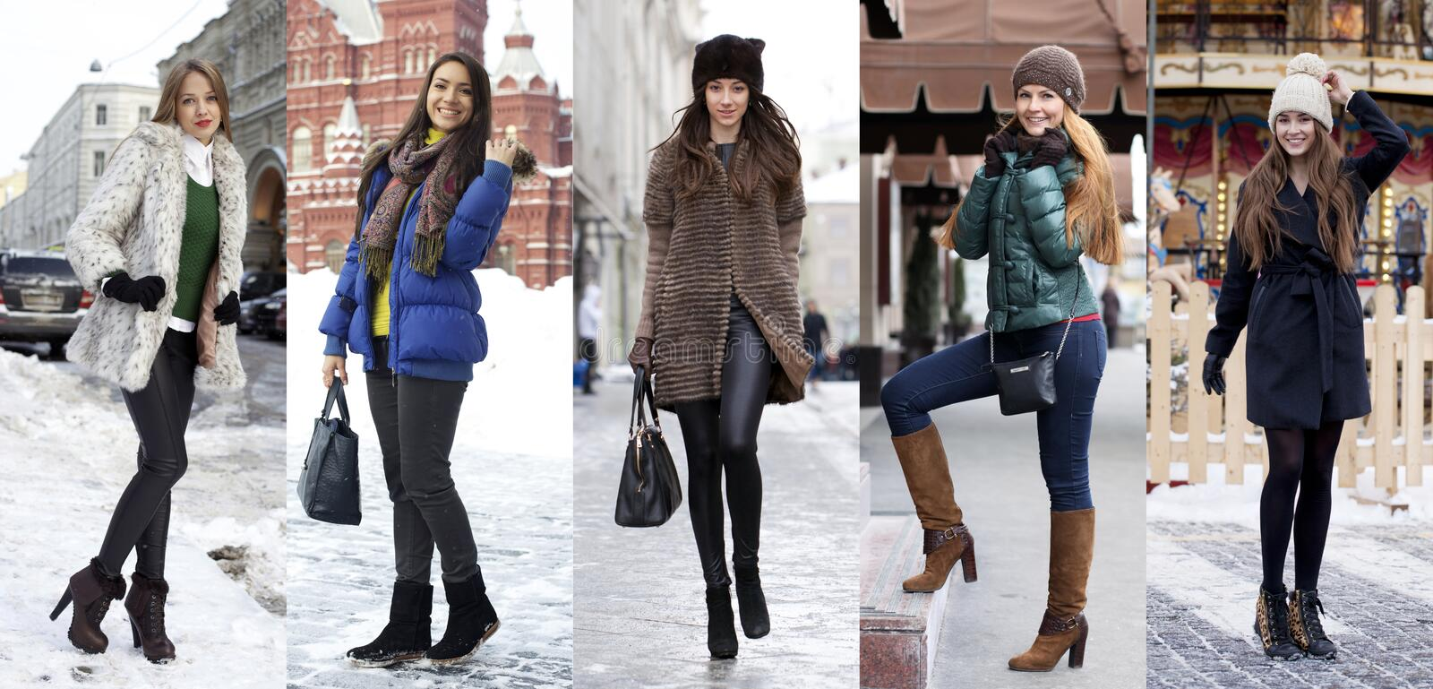 Collage winter fashion. Young beautiful women royalty free stock photo
