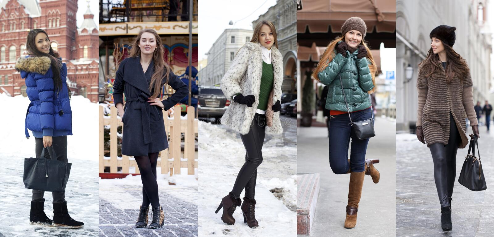 Collage winter fashion. Young beautiful women. On a background of a winter street royalty free stock images