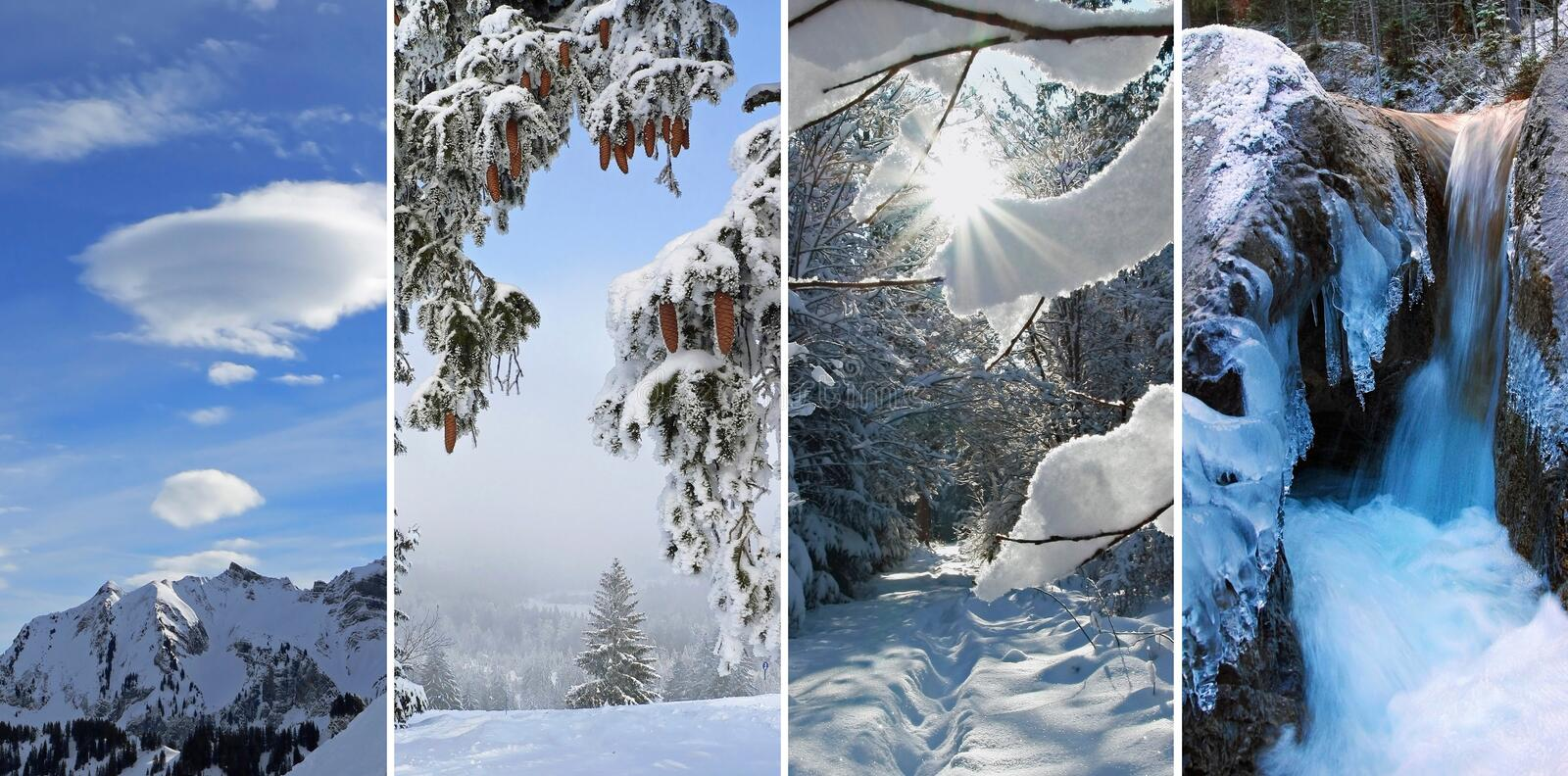 Collage - winter impressions. Collage of four images winter wonderland: 1. mountain peak and clouds, austria 2. winter landscape, austria 3. snowy path in the royalty free stock image