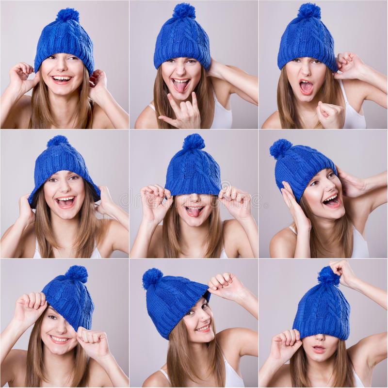 Collage of woman. In a blue hat different facial expressions royalty free stock photos