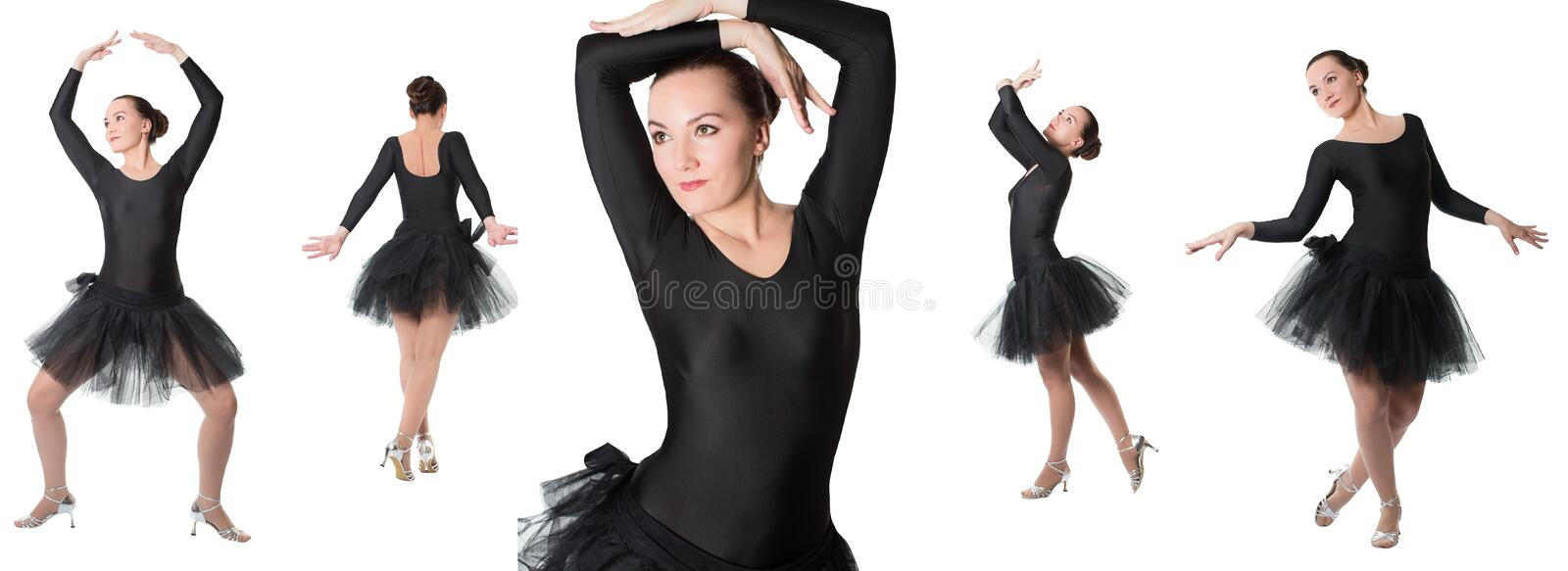 Collage of woman ballerina dancer standing pose