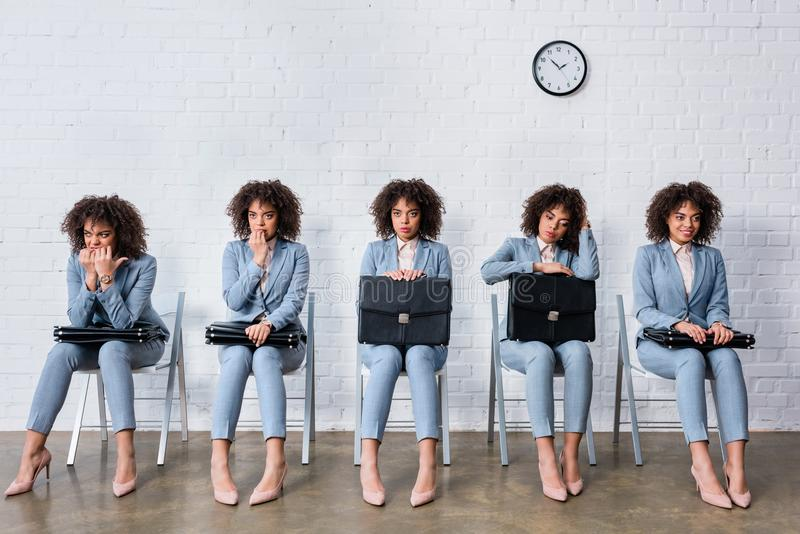 Collage with woman with briefcase waiting for interview stock photography