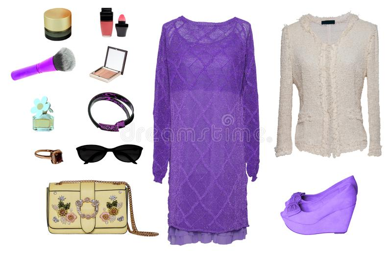 Collage woman clothes. Set of stylish and trendy women blouse, dress, shoes, handbag and accessories isolated on a white royalty free stock photography