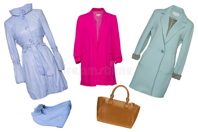 Collage woman clothes. Set of stylish and trendy women coats and accessories isolated on a white background. Latest fashion trends royalty free stock photos