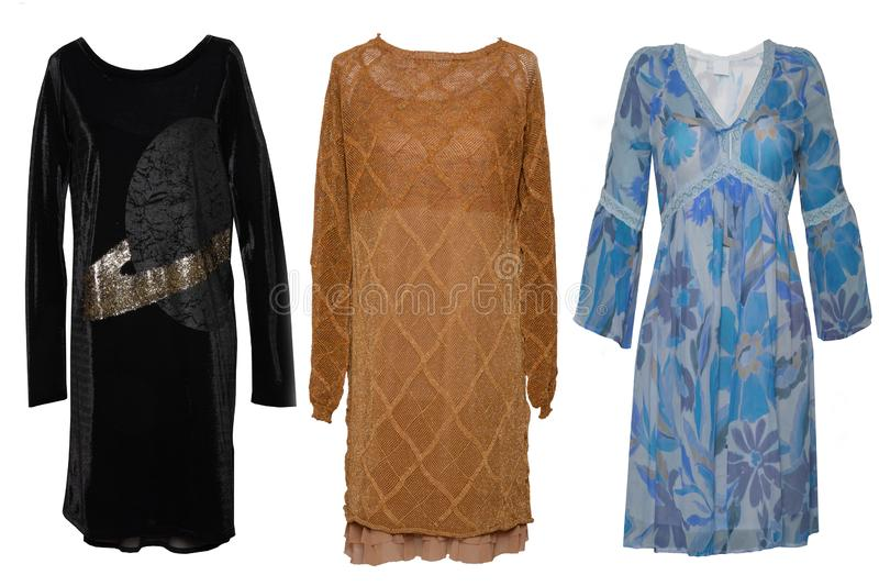 Collage woman clothes. Set of stylish and trendy women dresses and accessories isolated on a white background. Latest fashion royalty free stock photo
