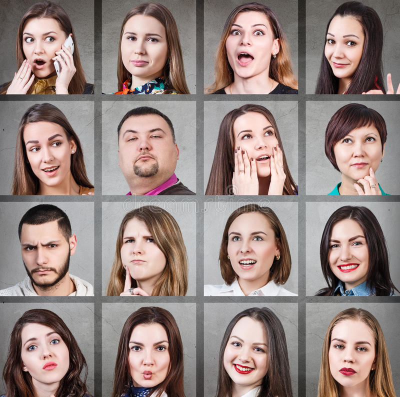 Collage of woman different emotions. Collage of people with different facial expressions on the gray background royalty free stock photos