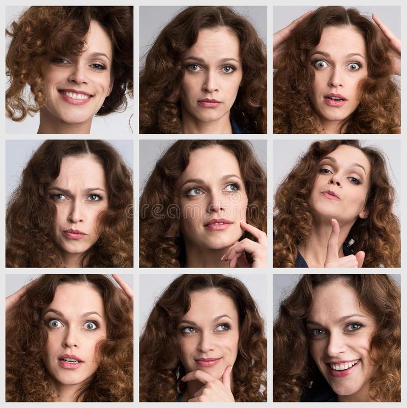 Collage of woman different emotions. Collage of a young woman different emotions royalty free stock photography