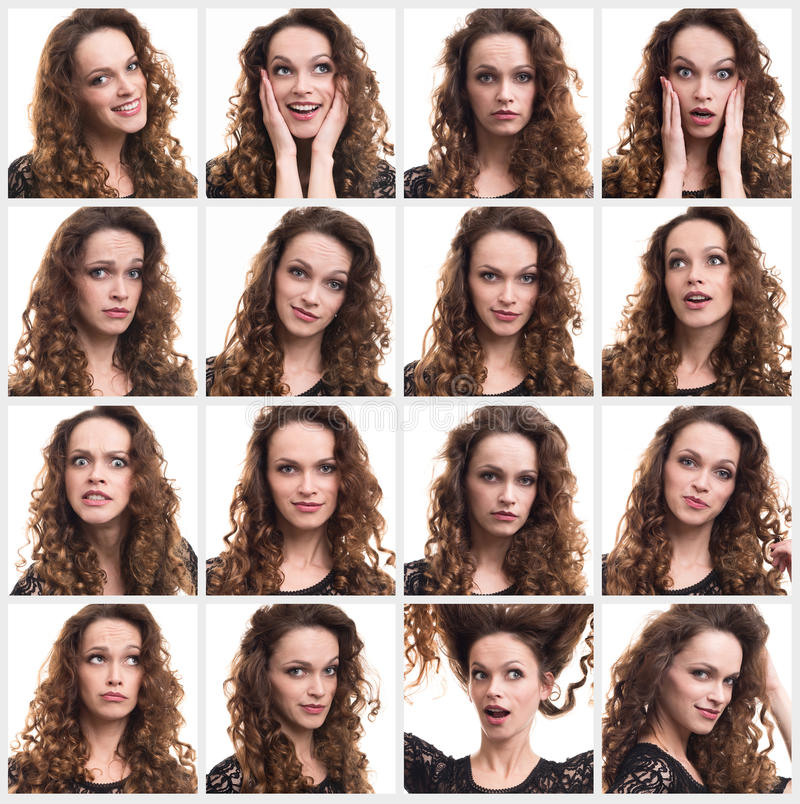 Collage of woman different emotions. Collage of a young woman different emotions royalty free stock image