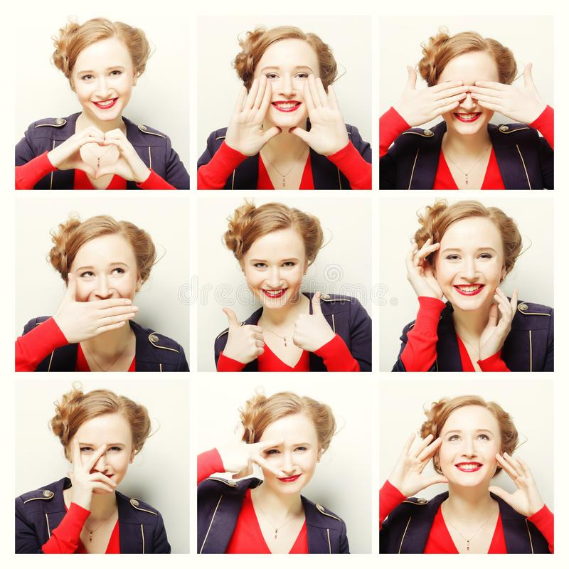 Collage of woman different facial expressions. Close up stock image