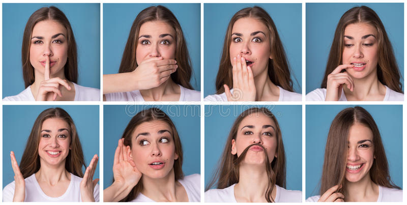 Collage of woman with different facial expressions. Eight beautiful photos of one girl face royalty free stock photos