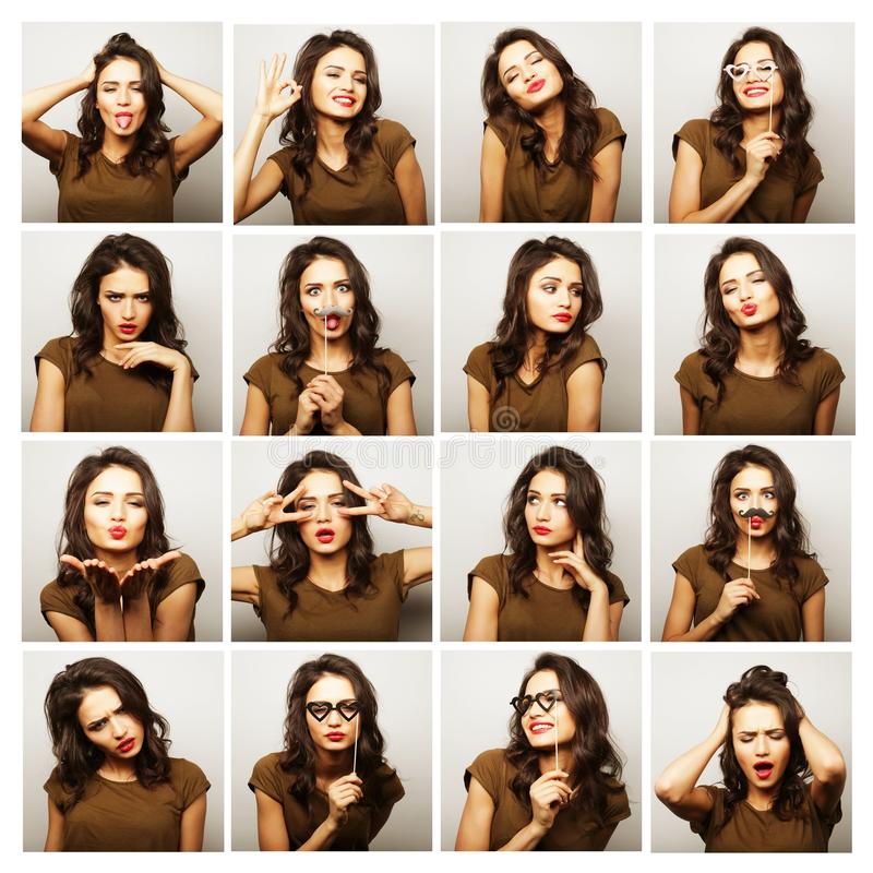 Collage of woman different facial expressions. People, portrait and beauty concept - collage of woman different facial expressions royalty free stock photo