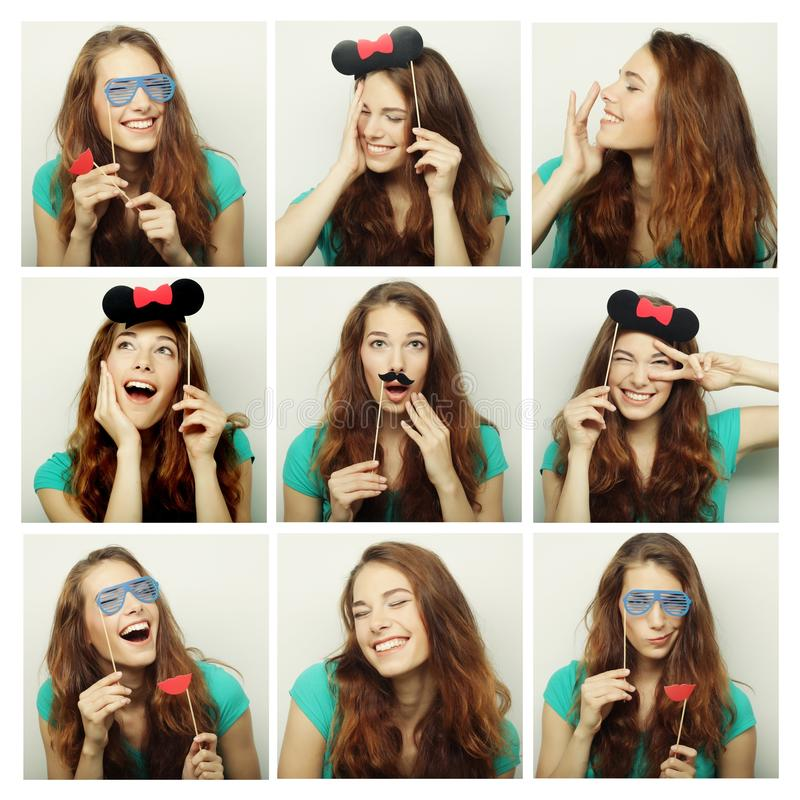 Collage of woman different facial expressions. Ready for party royalty free stock images