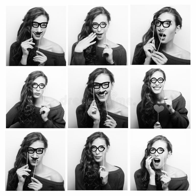 Collage of woman different facial expressions. Ready for party royalty free stock image