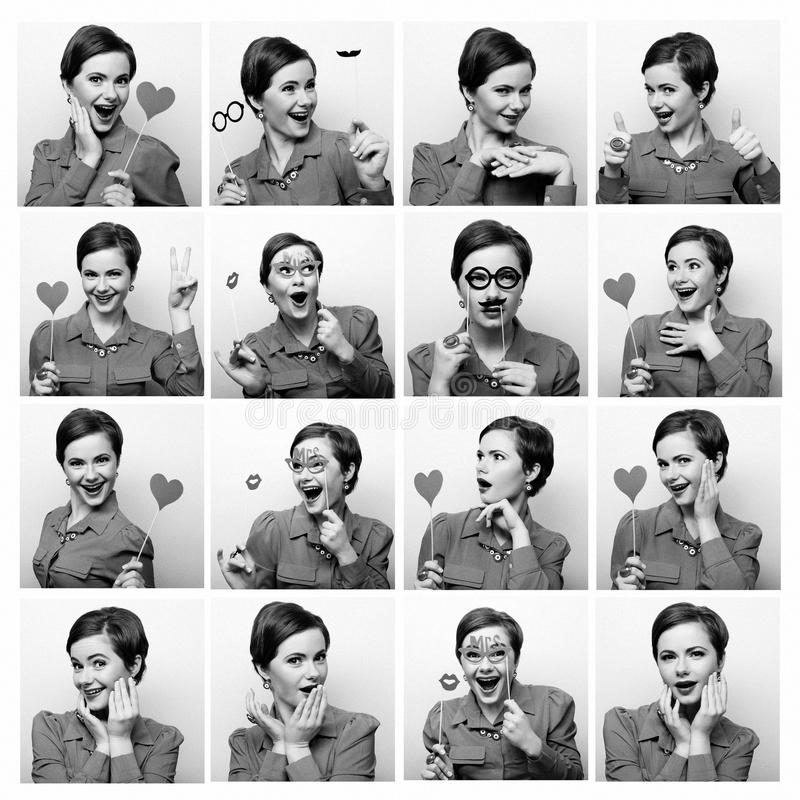 Collage of woman different facial expressions. Ready for party stock photo