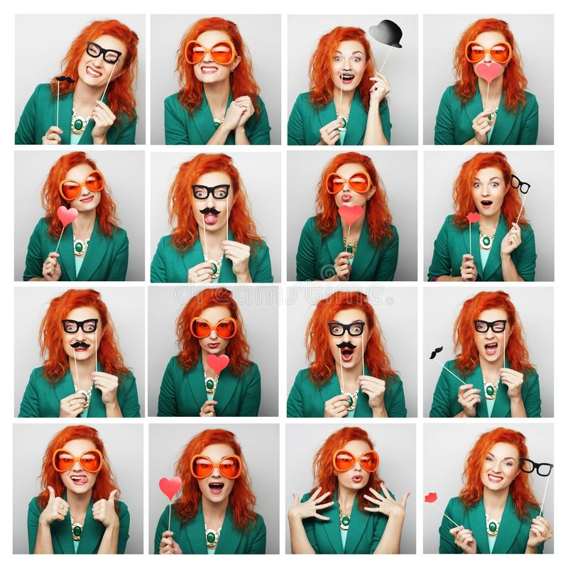 Collage of woman different facial expressions. Ready for party stock photography