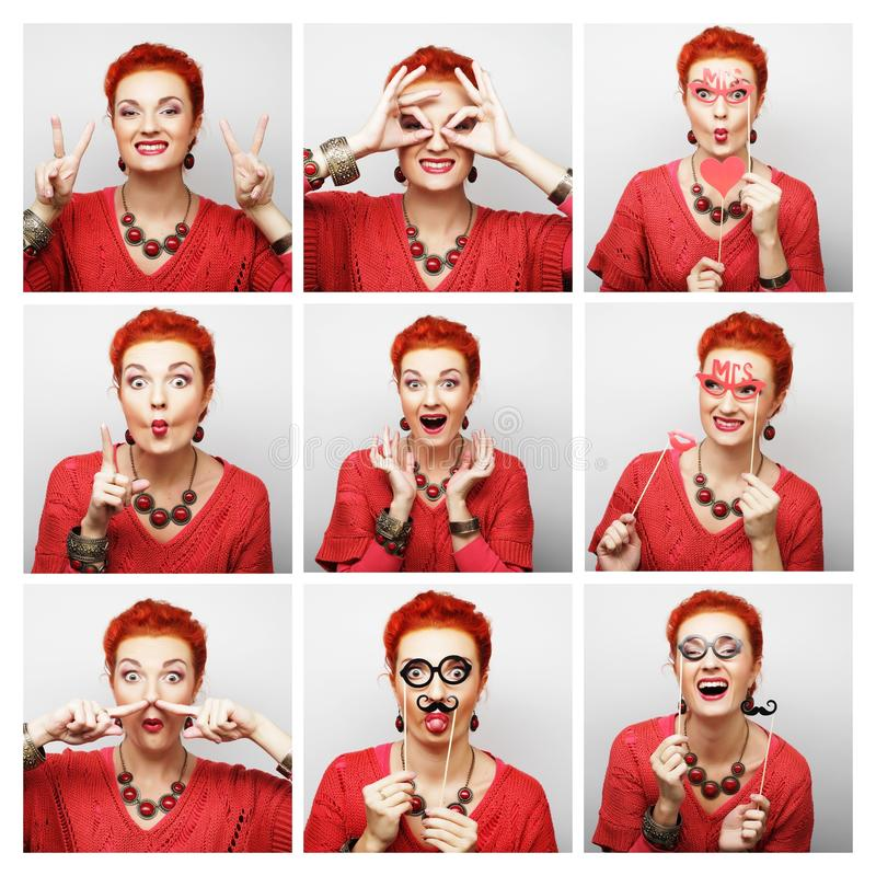 Collage of woman different facial expressions. Ready for party royalty free stock photo