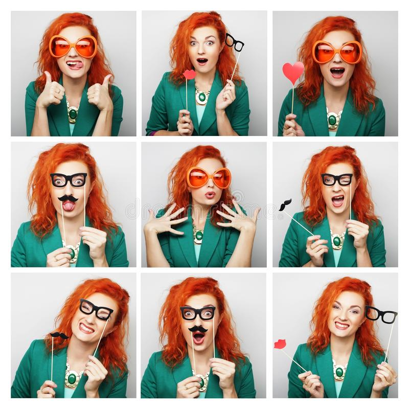 Collage of woman different facial expressions. Ready for party stock images