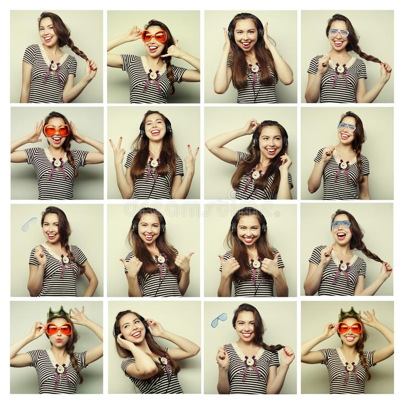 Collage of woman different facial expressions. Ready for party stock image